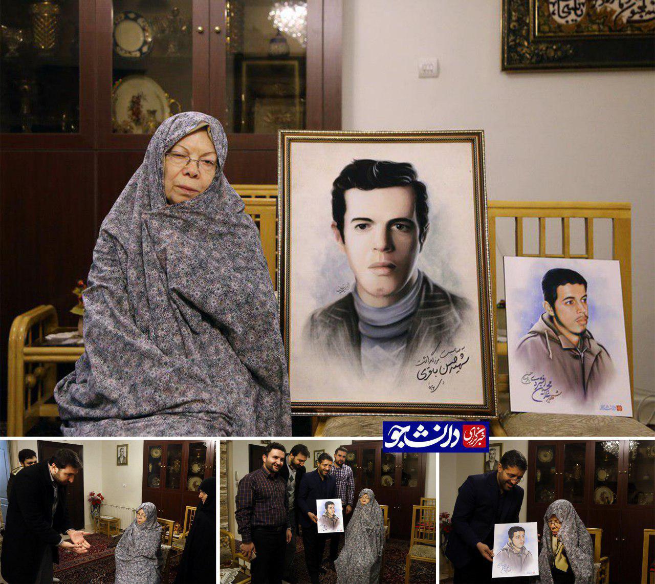 نقاشی چهره شهید باقری به مادرش تقدیم شد + عکس