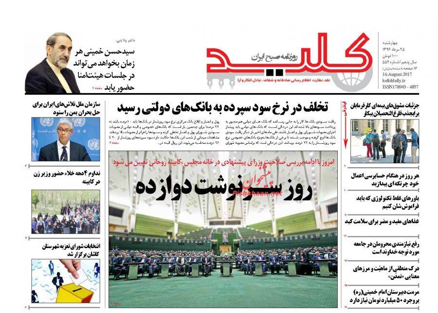 عناوین روزنامههای سیاسی ۲۵ مرداد ۹۶ / مسئولیت عملکرد روحانی با خودش است +تصاویر