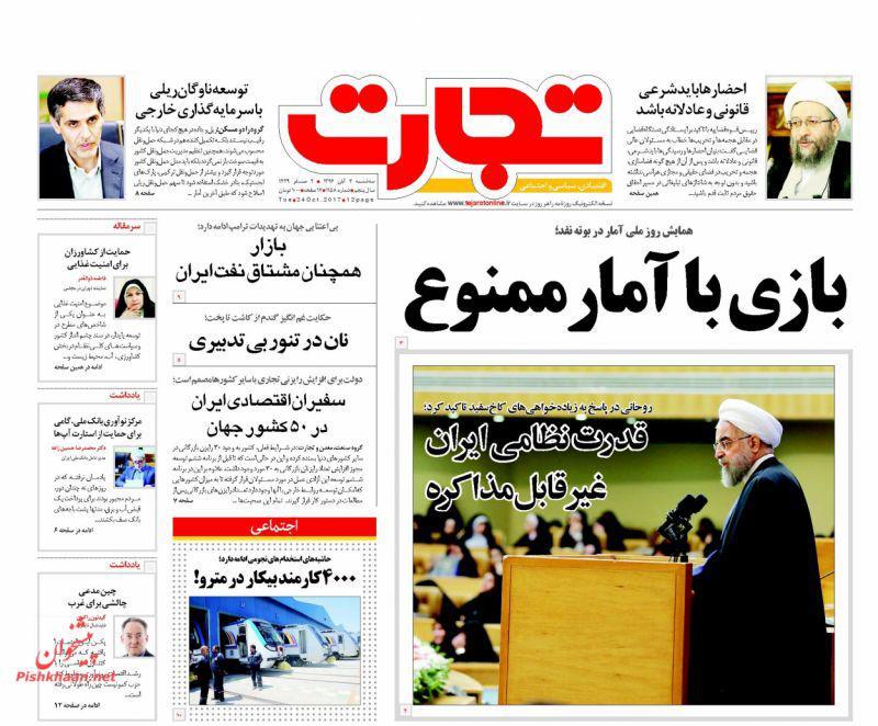 عناوین روزنامههای اقتصادی ۲ آبان ۹۶ / موجودی ثروت خفته دولت +تصاویر