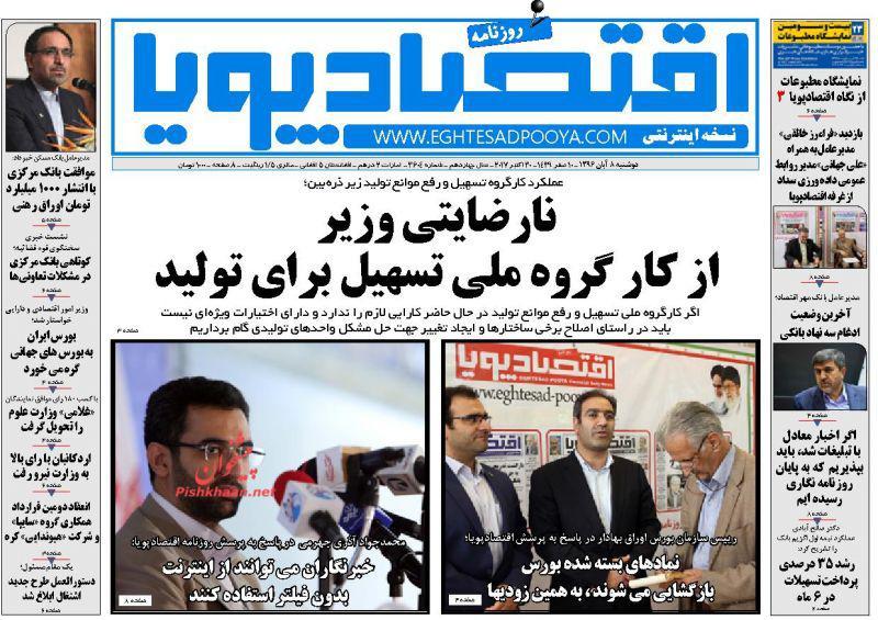 عناوین روزنامههای اقتصادی ۸ آبان ۹۶ / بهرهوری آب در چاه فراموشی +تصاویر