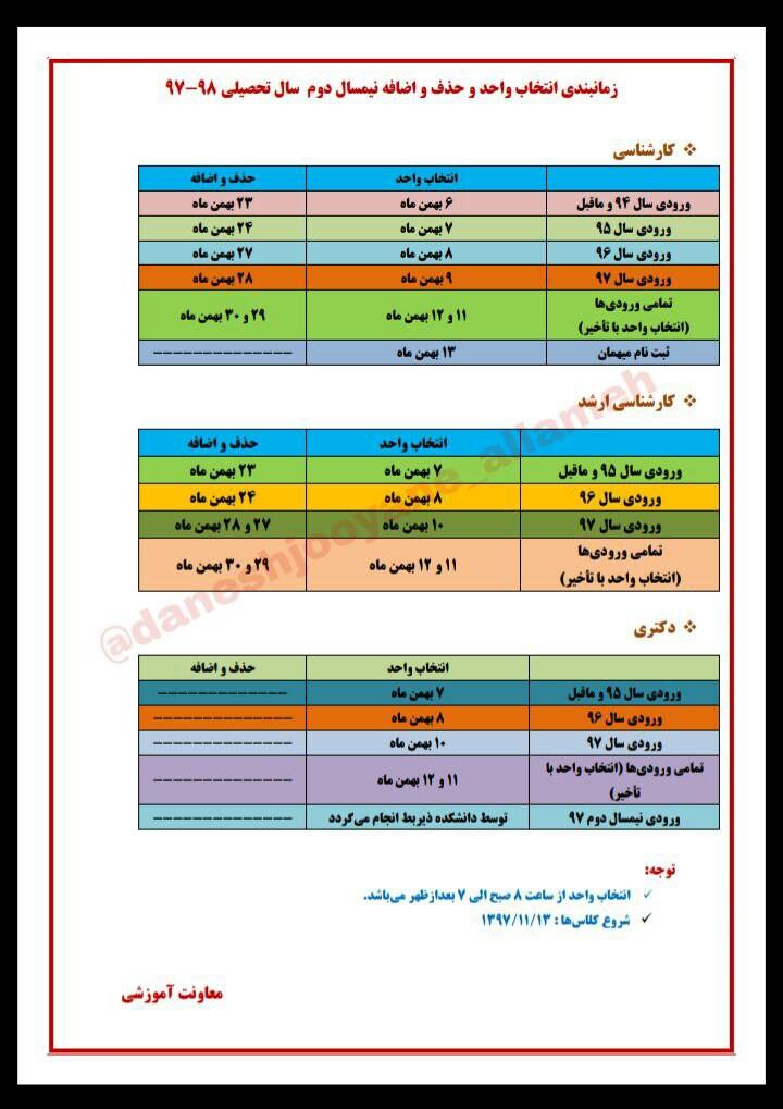 زمان ثبت نام و انتخاب واحد دانشگاه علامه طباطبایی اعلام شد + جدول