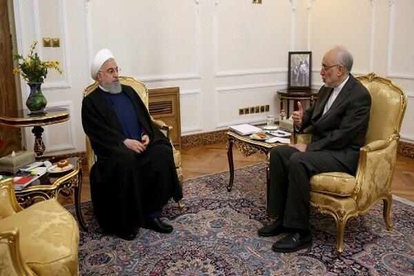 در دیدار روحانی با صالحی؛ رئیسجمهور در جریان عملکرد سازمان انرژی اتمی قرار گرفت