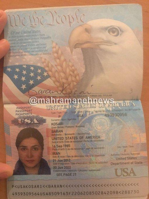 فوری  افشای پاسپورت آمریکایی باران کوثری؟ + تصویر