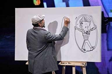 کشیدن کاریکاتور داوران عصر جدید توسط محمد پوررضا