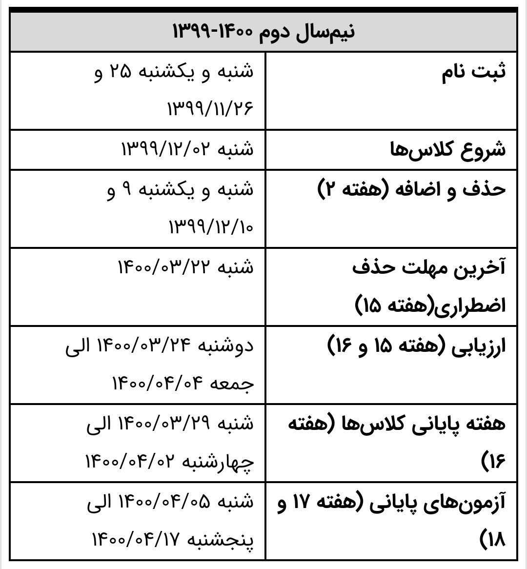 تقویم آموزشی نیم سال دوم تحصیلی ۱۴۰۰- ۱۳۹۹ دانشگاه امیرکبیر منتشر شد