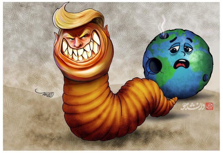کاریکاتور ترامپ کرم جهانخوار در باره مواضع ضد ایرانی رئیس جمهور آمریکا