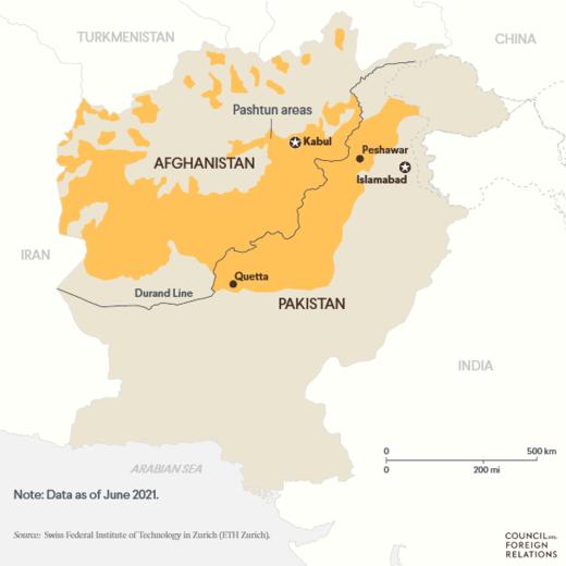 مناطق پشتون نشین در افغانستان و پاکستان   منبع: مؤسسه فناوری فدرال زوریخ